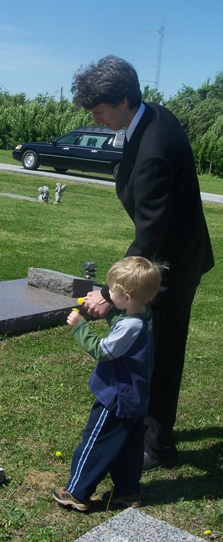 Rob and Mikey at gravesite